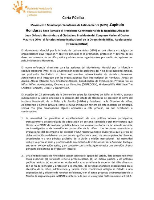 Carta Publica del Movimiento Mundial por la Infancia de Latinoam