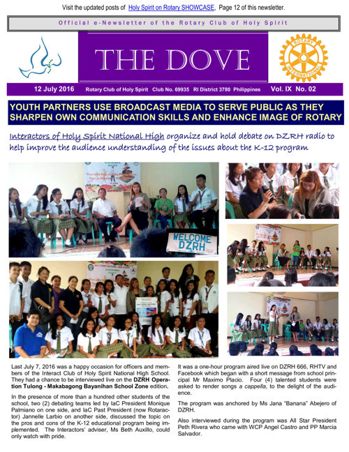 RC Holy Spirit THE DOVE  Vol.  IX No. 02  July 12, 2016