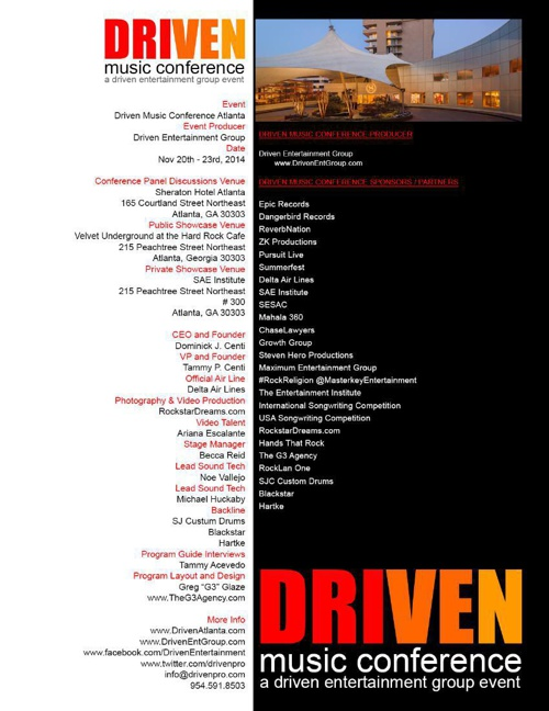 Driven Music Conference Atlanta November 2014 Program Guide