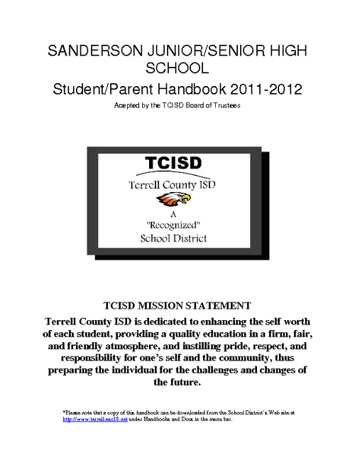 TCISD Jr/Sr High Handbook 2011-2012