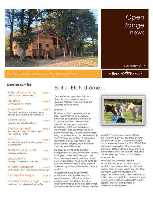 Open Range Newsletter