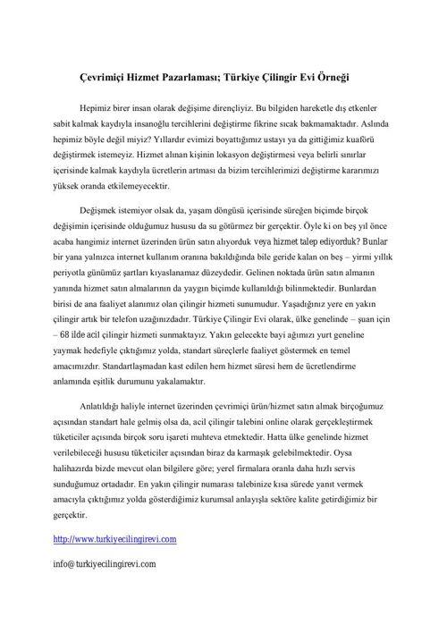 Çevrimiçi Hizmet Pazarlaması; Türkiye Çilingir Evi