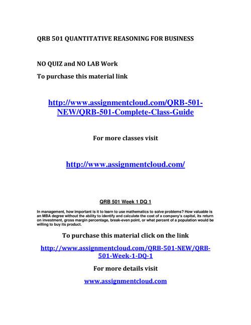 quantitative reasoning business essay