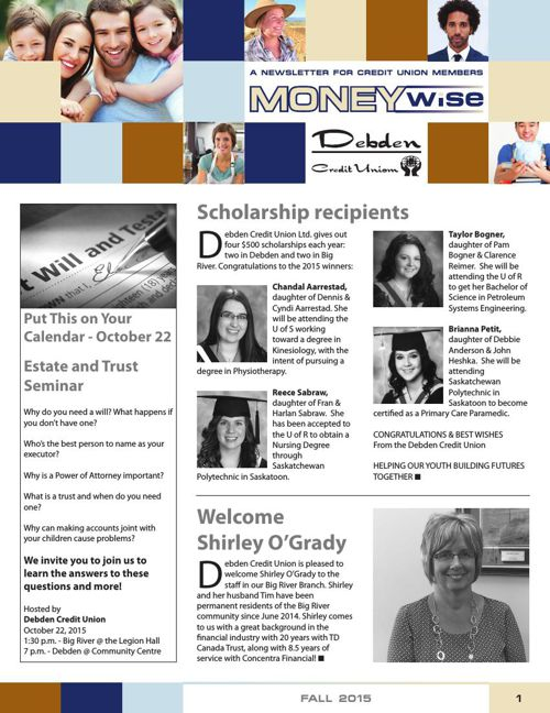 Debden Credit Union MoneyWise Fall 2015