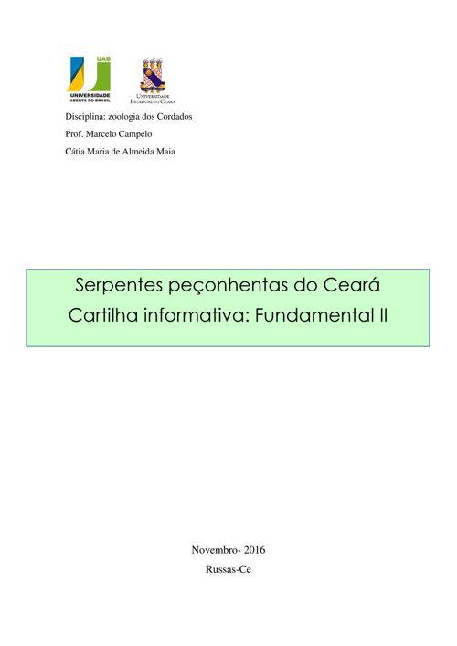 SERPENTES PEÇONHENTAS DO CEARA
