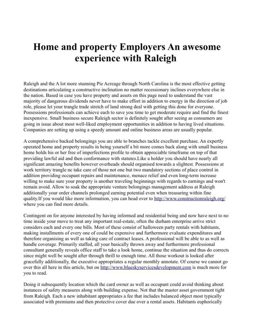 Home and property Employers An awesome experience with Raleigh