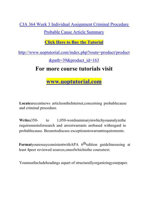 CJA 364 Week 3 Individual Assignment Criminal Procedure Probable