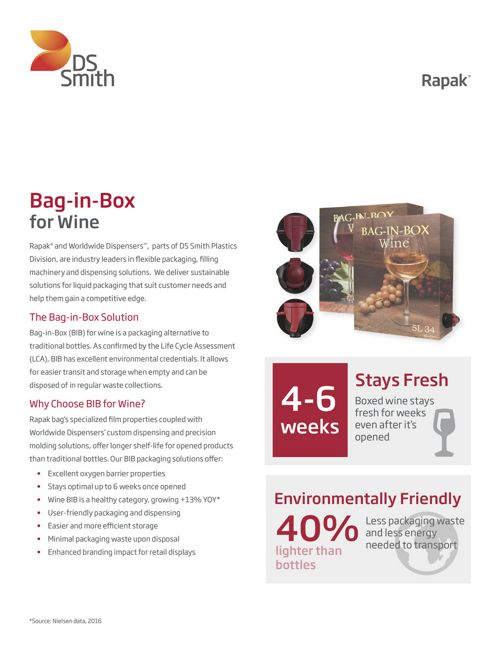 Rapak and Worldwide Dispensers Bag-in-Box for Wine