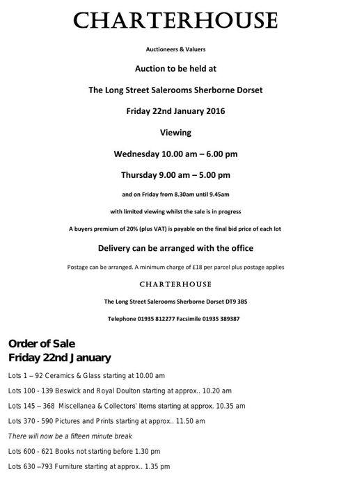 Charterhouse January 2016 Antique Auction Catalogue