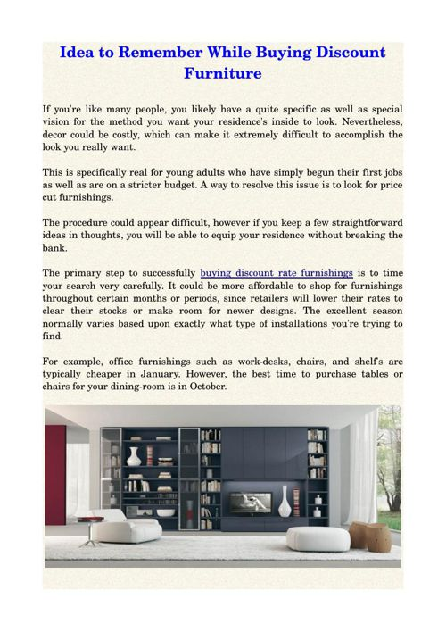 Idea to Remember While Buying Discount Furniture
