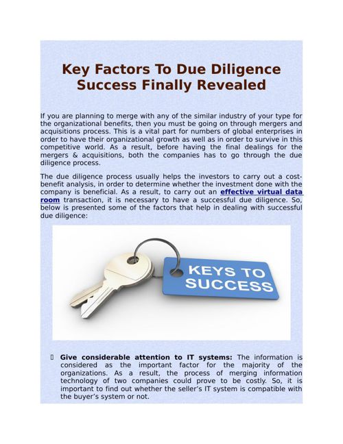 Key Factors To Due Diligence Success Finally Revealed