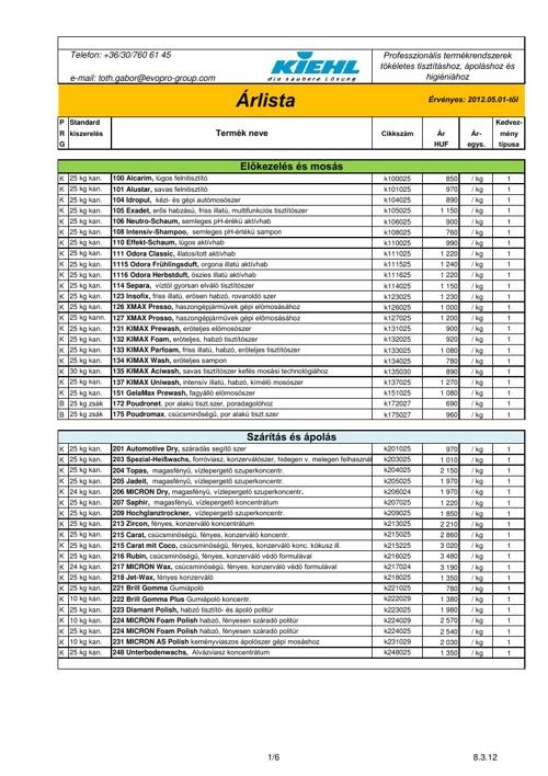 KIEHL - Autóápolási termékek katalógusa