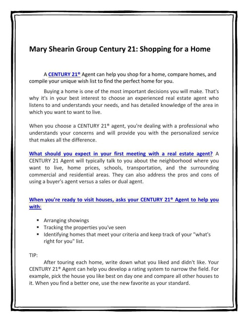 Mary Shearin Group Century 21: Shopping for a Home