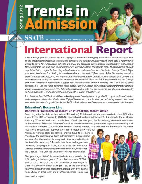 Trends in Admission - 2012 International Report