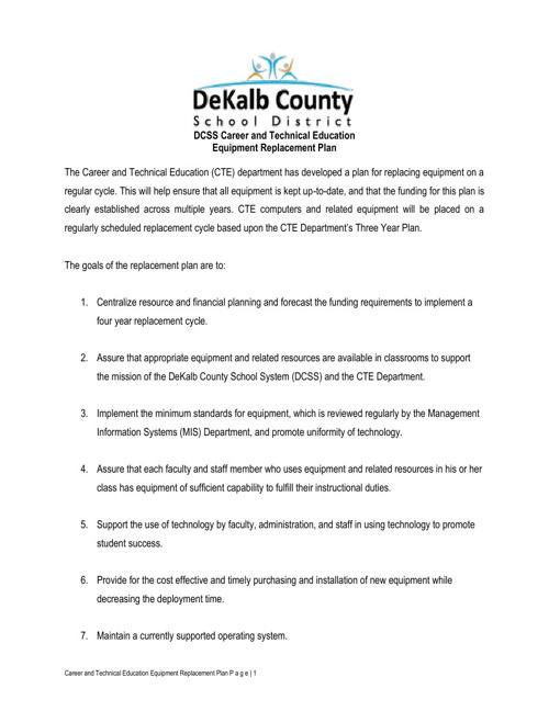 DCSD CTAE Replacement Plan