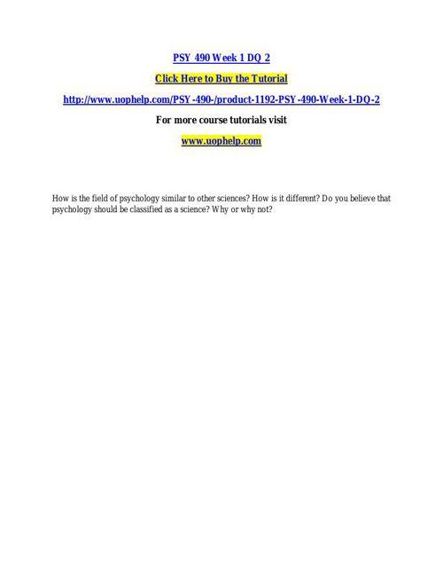 PSY 490 ACADEMIC COACH / UOPHELP