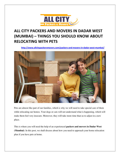 All City Packers and Movers in Dadar West (Mumbai) – things