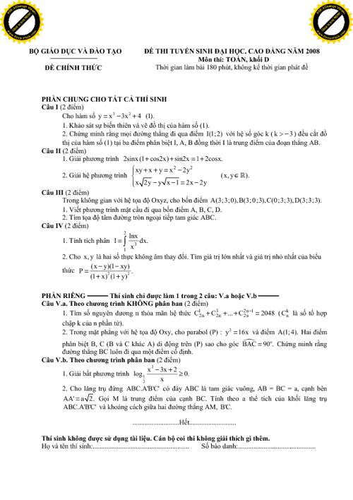 Tuyển tập đề thi đại học - cao đẳng qua các năm (p2)