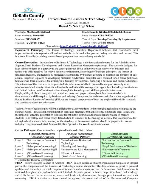 Kirkland's Course Documents