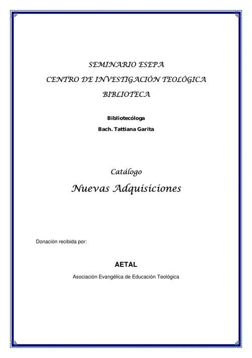 Nuevas Adquisiciones de la Biblioteca ESEPA