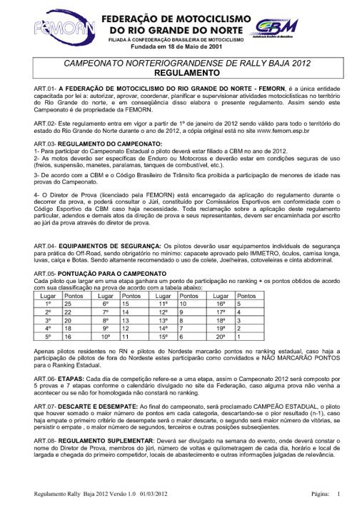 Regulamento Baja