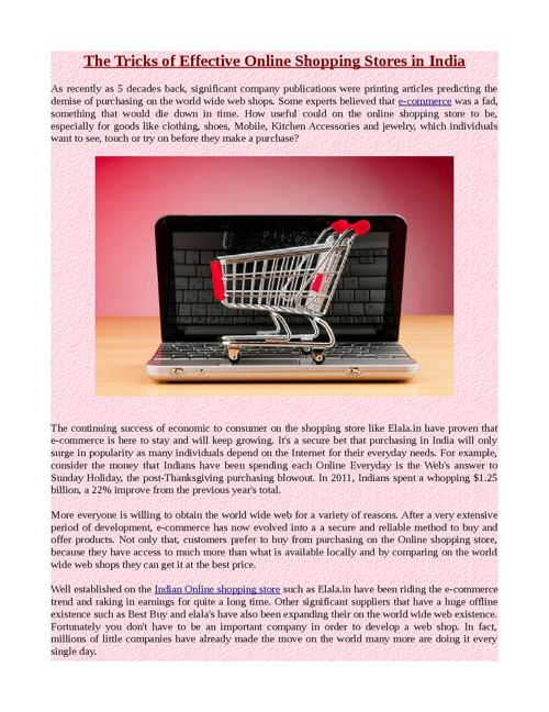 The Tricks of Effective Online Shopping Stores in India
