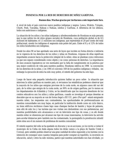Discurso red Garifuna de niñez (Luis Chavez)