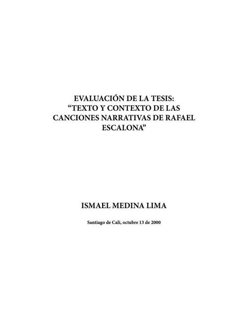 """Evaluación de la tesis: """"Texto y contexto de las canciones narra"""