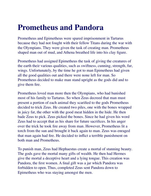 Prometheus and Pandora