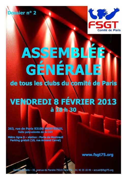 Assemblée Générale des Clubs du Comité de Paris 2013