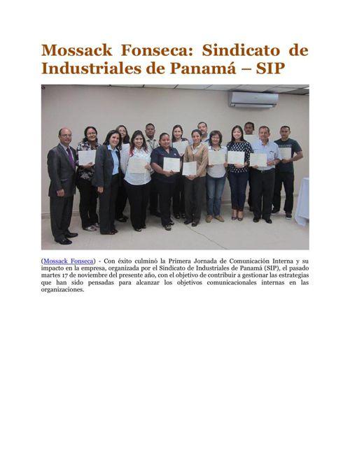 Mossack Fonseca: Sindicato de Industriales de Panamá – SIP