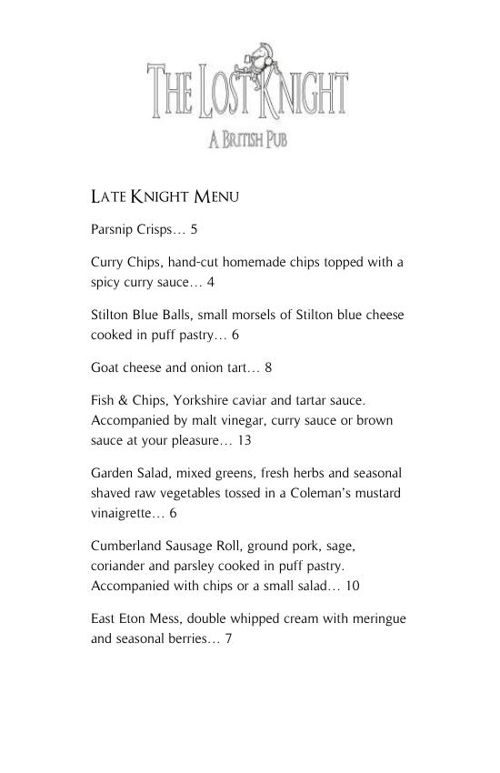 Late Knight Menu