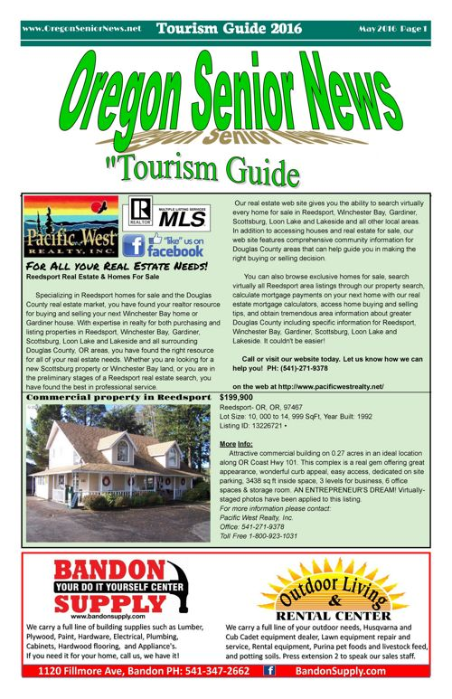Oregon Senior News Tourism Guide May 2016