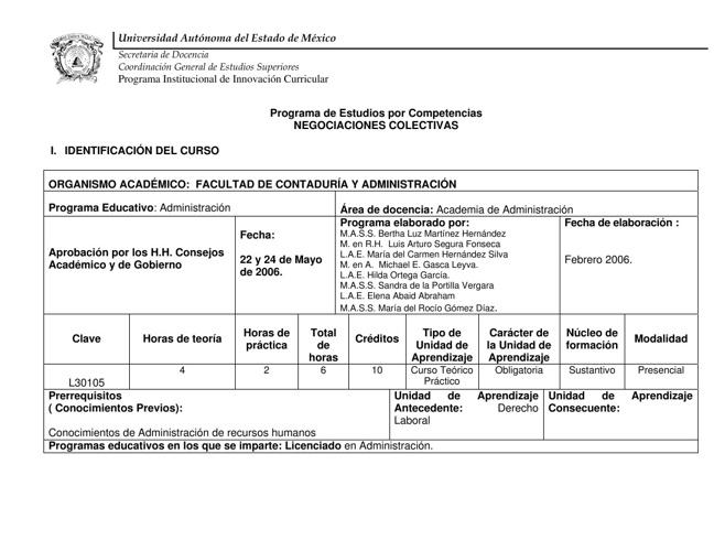 Programa de Estudios por Competencias NEGOCIACIONES COLECTIVAS