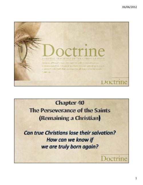 24. Perserverance of the Saints