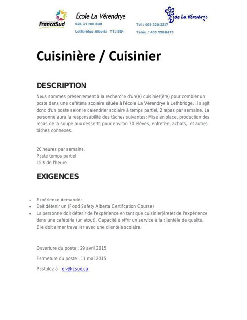 Cuisinier demandé / Cook needed