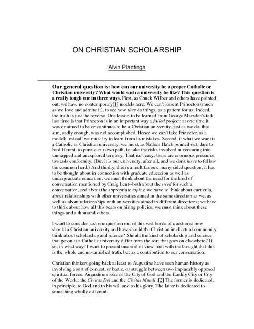 On Christian Scholarship by Alvin Plantinga