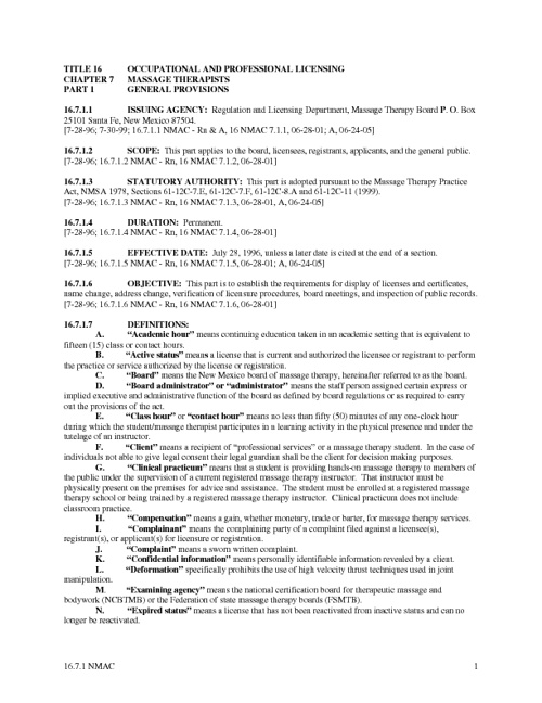 NM Massage Therapy Board Rules & Regulations