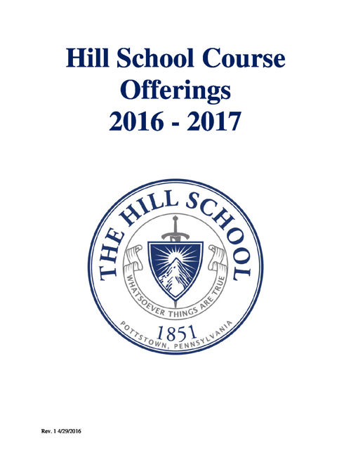 Hill School Course Offerings 2016-17