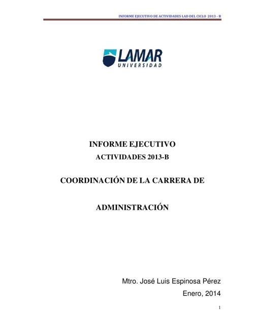 2. INFORME EJECUTIVO DE ACTIVIDADES 2013-B  COORDINACION LAD Cop