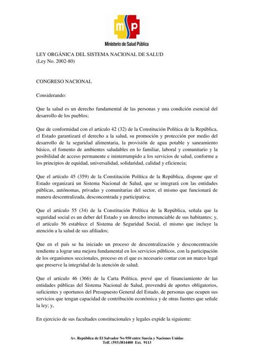 LEY ORGANICA DEL SISTEMA NACIONAL DE SALUD