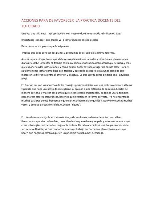 acciones para favorecer la practica docente.