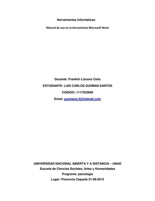 manual de uso en la herramienta Word