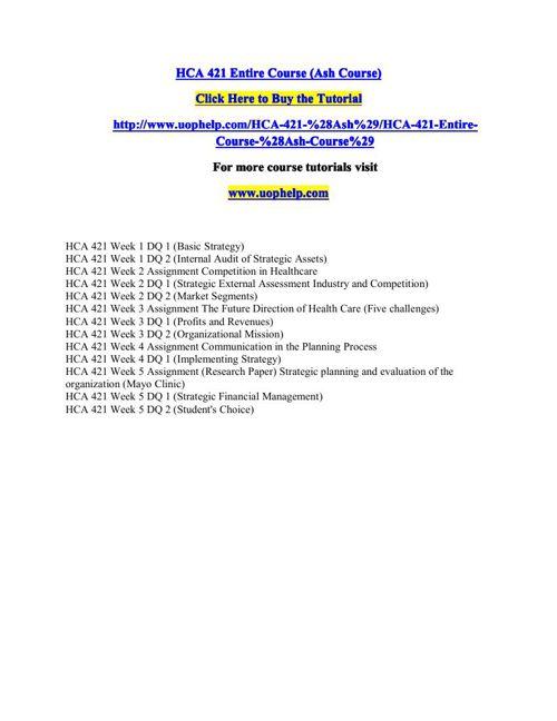 HCA 421(ASH) Academic Coach/uophelp