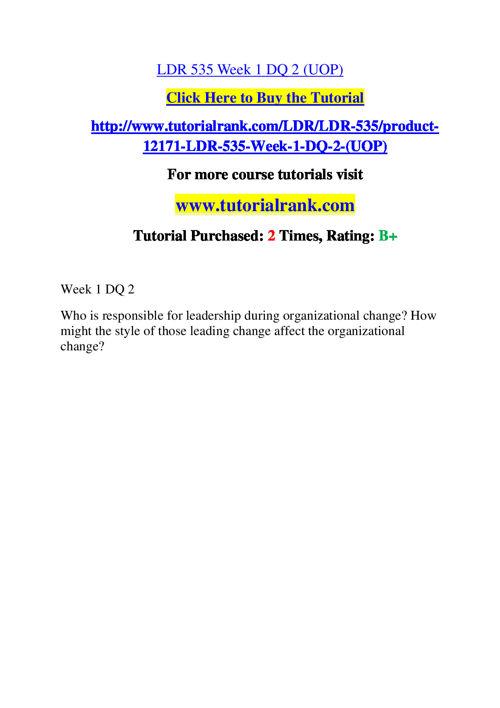 LDR 535 Course Success Begins / tutorialrank.com