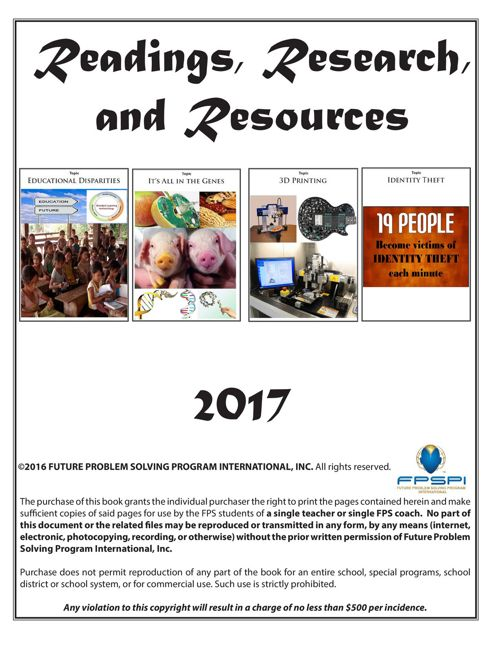 2016-17 Readings, Research, and Resources (RRR)