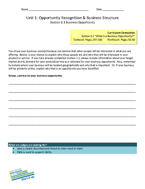 NFTE Unit Worksheets