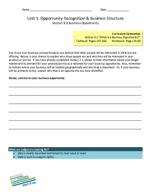 NFTE Unit Worksheets