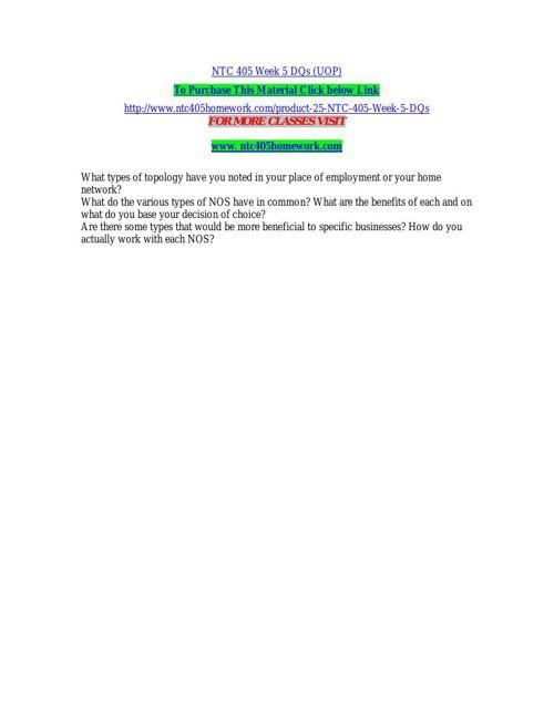 NTC 405 Week 5 DQs (UOP)