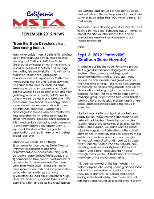 September 2012 California MSTA Newsletter